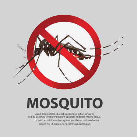 no mosquito: illustration. Stop mosquito cartoon