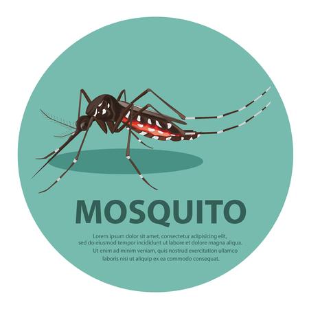 illustration. mosquito cartoon  イラスト・ベクター素材