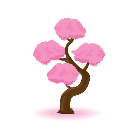 pink tree: illustration. pink tree on white background.