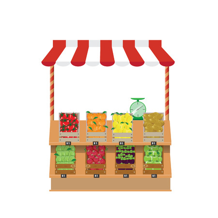 greengrocer: illustration.Shop- vegetables and fruit. Illustration