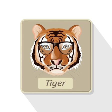 eye glasses: illustration. tiger