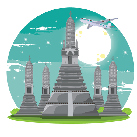 wat arun: travel thailand, wat arun bangkok Illustration