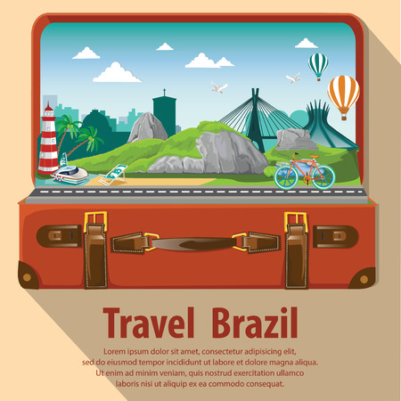 open suitcase: Travel the world by plane. Travel and Famous Landmarks. Brazil. Travel around brazil . open suitcase go to brazil.