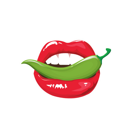 sexy tongue: illustration . sexy lips. Applying red lipstick colorful. mouth with pepper. Illustration