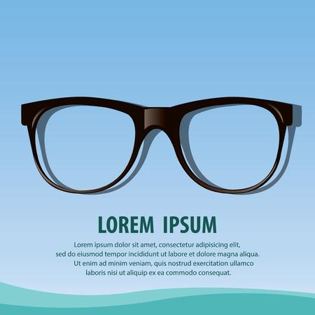 Illustration metal framed glasses isolated on a blue Illustration