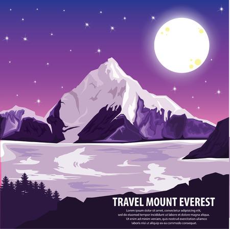 himalaya: illustration . Travel around highest mountains Everest and landscape .