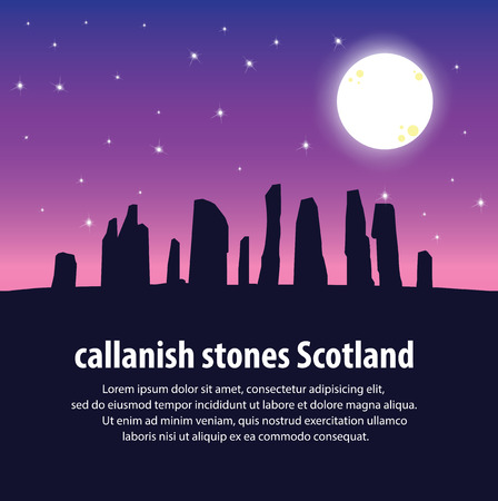 lewis: Travel Callanish Standing Stones. Travel and Famous Landmarks . illustration . Illustration