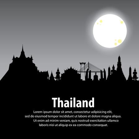 Vector illustration. silhouette Wat in bangkok thailand. Thailand. Travel around Bangkok.