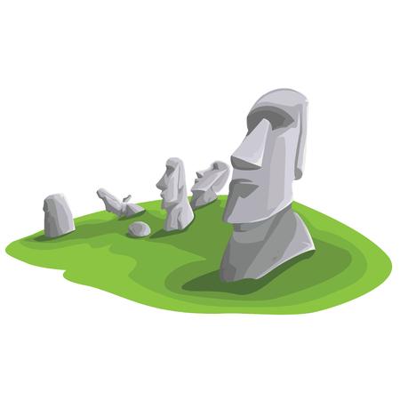 Travel and Famous Landmarks and beautiful on white background. Moai stone statue head on Easter Island on symbol republic of Chile ,Moai statue flat design landmark illustration vector cartoon. Stock Illustratie