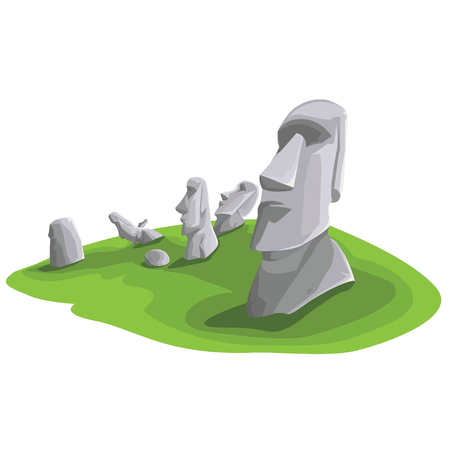 Travel and Famous Landmarks and beautiful on white background. Moai stone statue head on Easter Island on symbol republic of Chile ,Moai statue flat design landmark illustration vector cartoon. 向量圖像