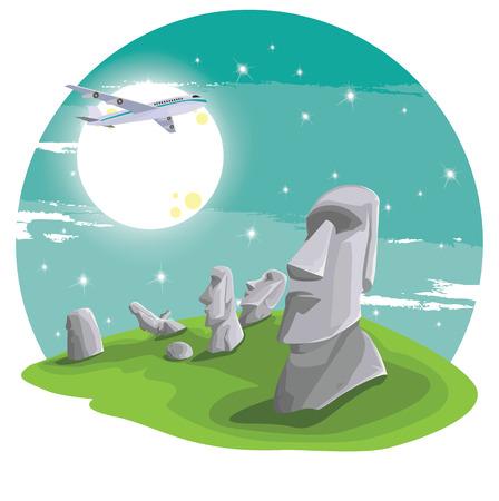 moai: Viajes y lugares de interés turístico y hermoso en avión. Moai estatua cabeza de piedra en la isla de Pascua en el símbolo de la república de Chile, estatua moai plana de diseño hito ilustración vectorial de dibujos animados.