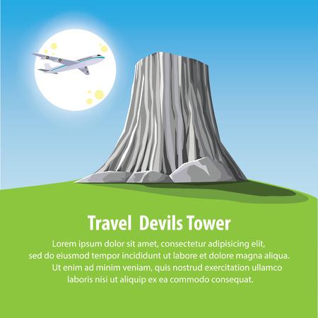 granite: flat design landmark illustration vector cartoon. Travel and Famous Landmarks and beautiful. Devils Tower Island on america.