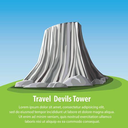 granite: flat design landmark illustration cartoon. Travel and Famous Landmarks and beautiful. Devils Tower Island on america