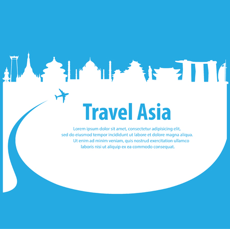 built tower: Travel the world by plane .Travel around Asia by plane . Travel and Famous Landmarks flat illustration.