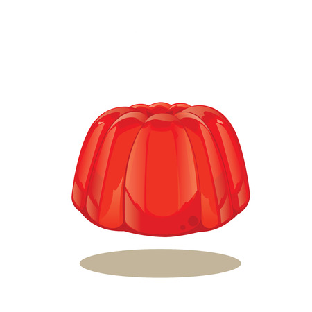 christmas pudding: illustration vector . Red jelly pudding isolated on a white background. Illustration