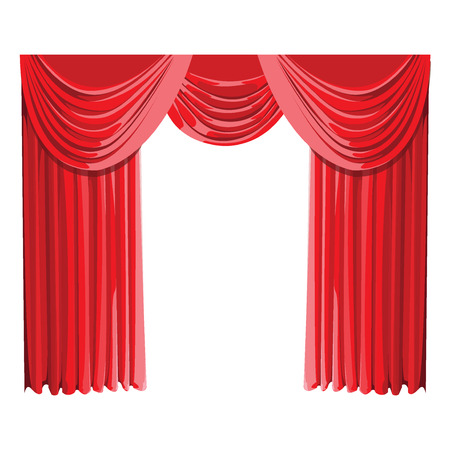 Red curtain draped a white background. illustration vector.