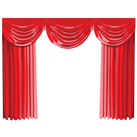 movie theater: Red Curtains Isolated.vector