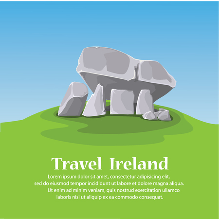 grave stone: travel ireland. Brownshill Dolmen. vector illustration Illustration