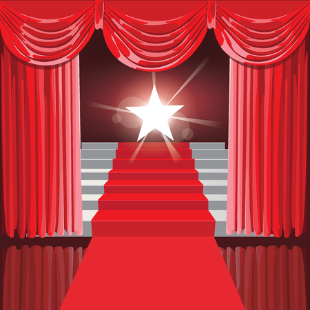 Staircase with red curtains and stars the winner . Vector Illustration