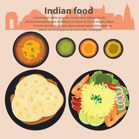 Food Illustration : Indian food :Vector Illustration.