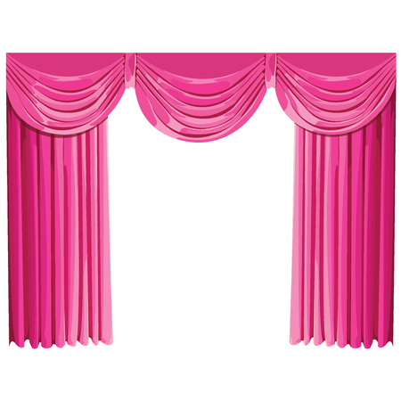 pink curtains.Vector Illustration