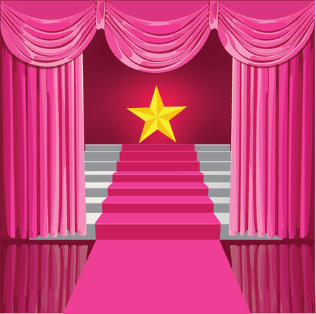Staircase with pink curtains and stars the winner . Vector Illustration Stock Illustratie