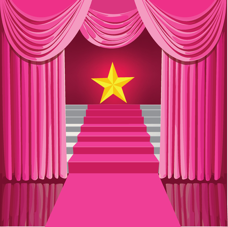 Staircase with pink curtains and stars the winner . Illustration
