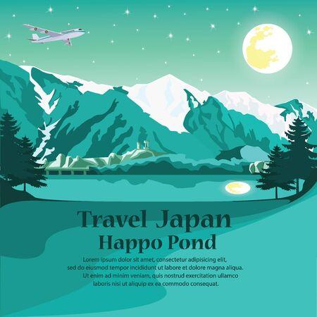 exploring: travel Nagano Japan. Illustration