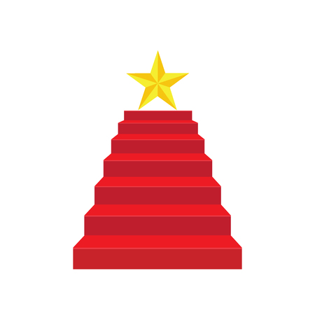 Staircase color red carpet, triumph and success concept. illustration vector. 向量圖像