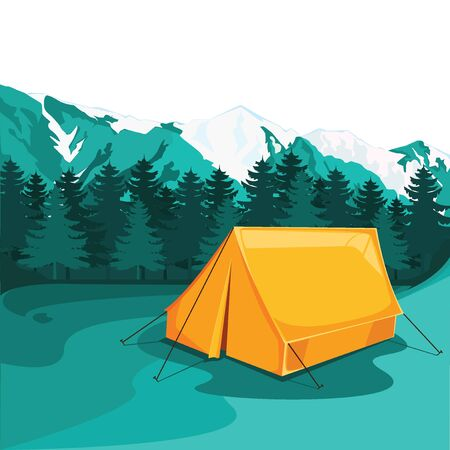 Adventures in nature, Evening camp. illustration, vector.