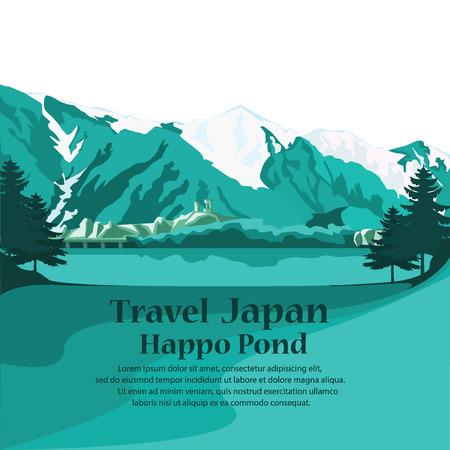 Travel Nagano Japan. explore forest happo pond. vector illustration