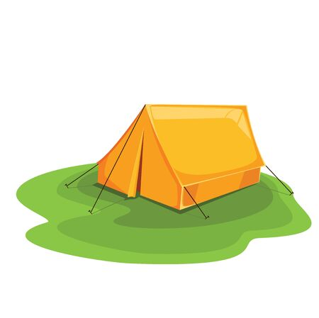 Tent color orange. travel explore. vector illustration 向量圖像