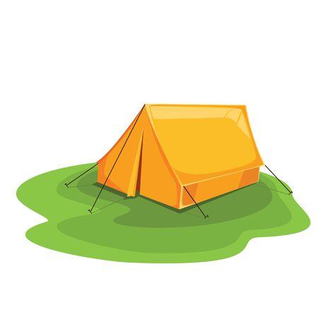 Tent color orange. travel explore. vector illustration Stock Illustratie