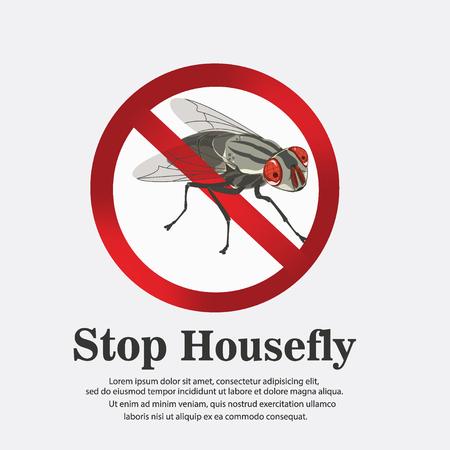 Stop housefly poster illustration.  イラスト・ベクター素材