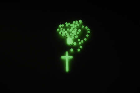 rood: green grow rosary with black background
