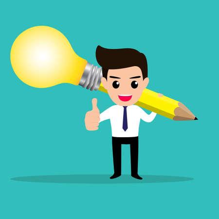 smart: Business man get idea from his lightbulb pencil. Illustration