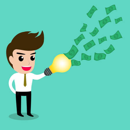 great success: Business man uses his idea catching all the money, vector Illustration.