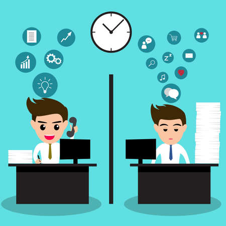 sleepy man: Lazy business man and active business man in same office.Vector illusttration.