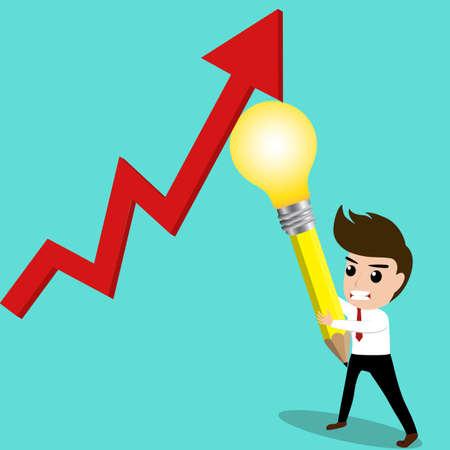 L'homme d'affaires essayer de rebondir d'ordre économique par son idea.Vector Illustration. Banque d'images - 35333777