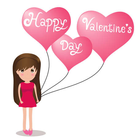 Cute girl Happy Valentine Day holding balloons heart. Vector Illustration