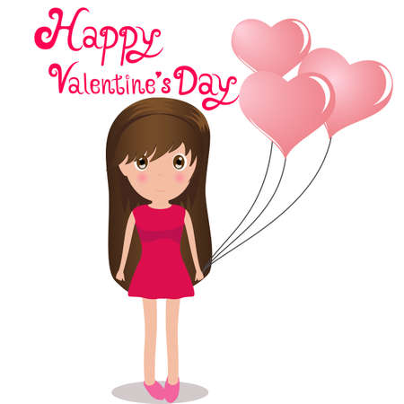 Cute girl Happy Valentine Day holding balloons heart. Vector Illustration.