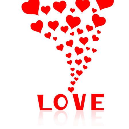 El caer en amor con corazones de fondo. Ilustración del vector.