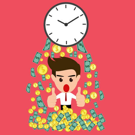whit: Time is money whit happy businessman.Vector Illustration.