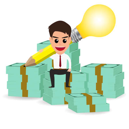 businessman handle pencil lightbulb and sitting on money stacks.Vector Illustration. Vector