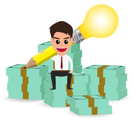 salary man: businessman handle pencil lightbulb and sitting on money stacks.Vector Illustration.