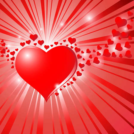 Hearts On Sunburst Background.Vector Illustration. Vector