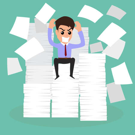 Seriously businessman because of many paper on working time