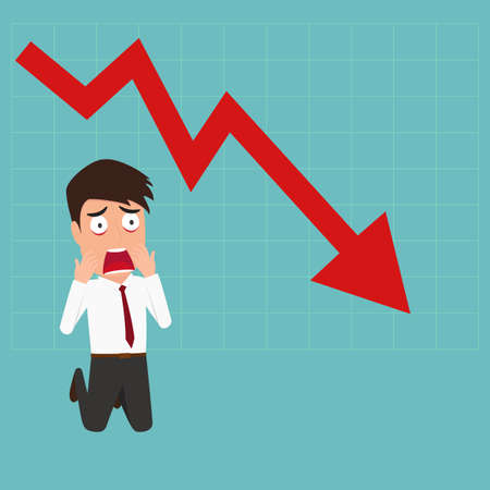 Business failure, Down trend graph make a businessman shocked