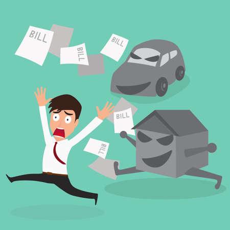 Businessman escape debt car house and bill Stock Illustratie