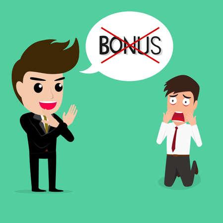 Business man shocked.he niet krijgt bonus.vector illustratie.